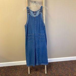 Vintage denim overalls long dress medium